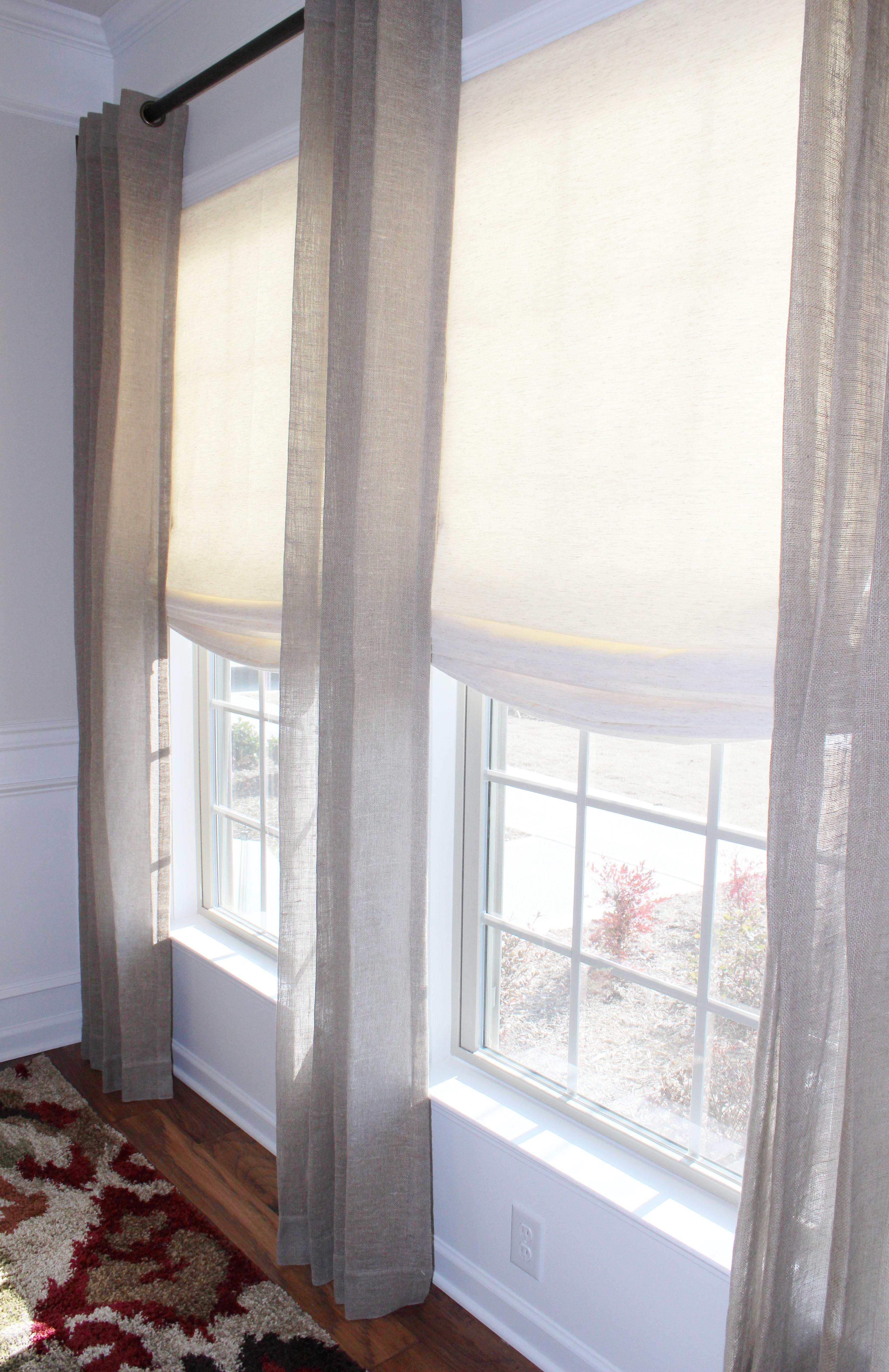 Linen window treatments - Linen Grommet Drapes Cordless Roman Shade